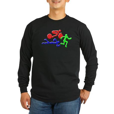 Triathlon Color Figures 3D Long Sleeve Dark T-Shir