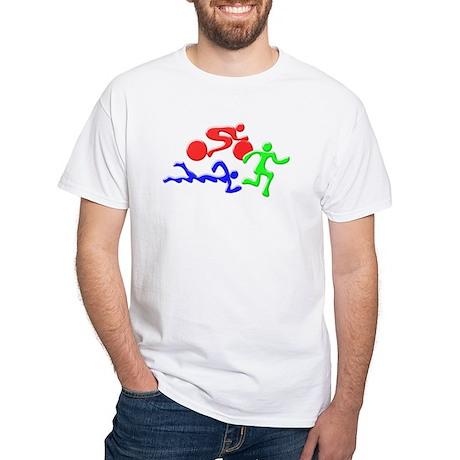 Triathlon Color Figures 3D White T-Shirt