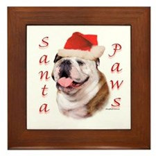 Santa Paws Bulldog Framed Tile