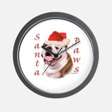 Santa Paws Bulldog Wall Clock