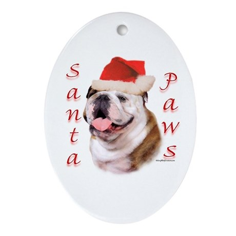 Santa Paws Bulldog Oval Ornament