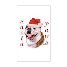 Santa Paws Bulldog Rectangle Decal