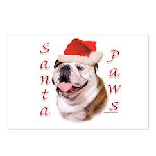Santa Paws Bulldog Postcards (Package of 8)