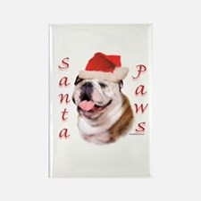 Santa Paws Bulldog Rectangle Magnet