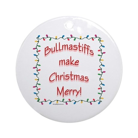 Merry Bullmastiff Ornament (Round)