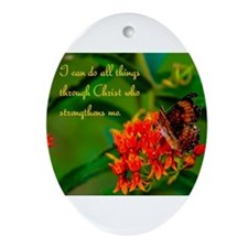 All Things Through Christ Butterfly Ornament (Oval