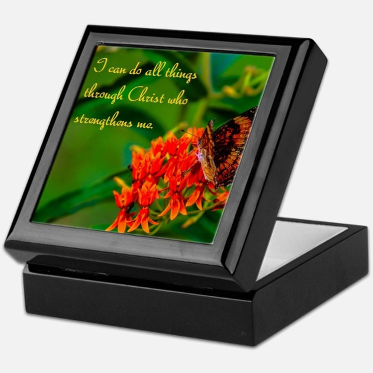 All Things Through Christ Butterfly Keepsake Box