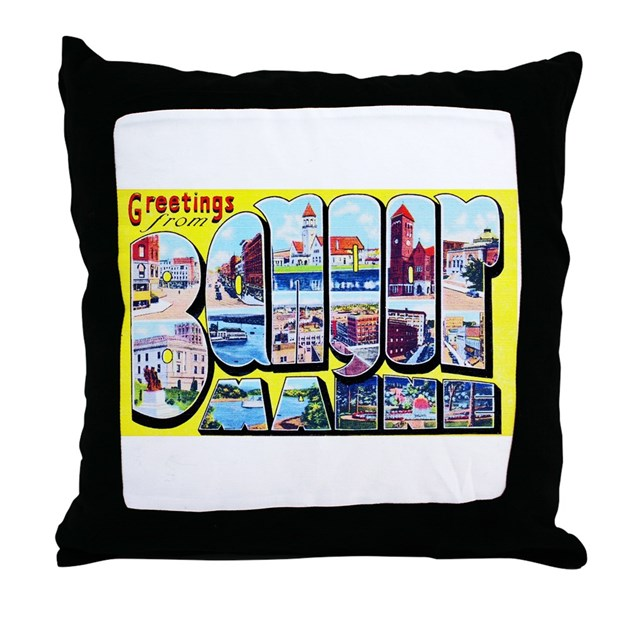 Bangor Maine Greetings Throw Pillow By W2arts