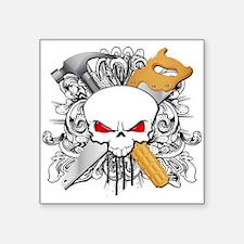 "Handyman Skull Square Sticker 3"" x 3"""