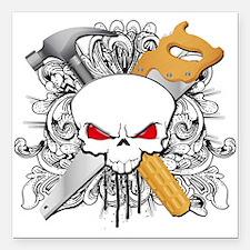 "Handyman Skull Square Car Magnet 3"" x 3"""
