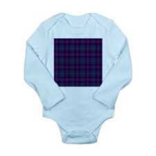 purple tartan Long Sleeve Infant Bodysuit