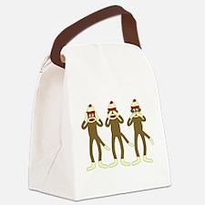 No Evil Sock Monkeys Canvas Lunch Bag