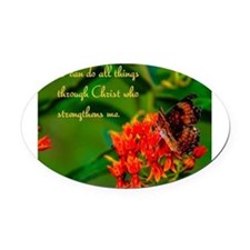 All Things Through Christ Oval Car Magnet