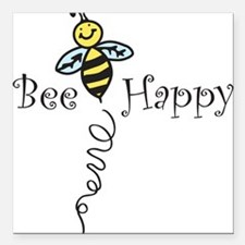 """Bee Happy Square Car Magnet 3"""" x 3"""""""
