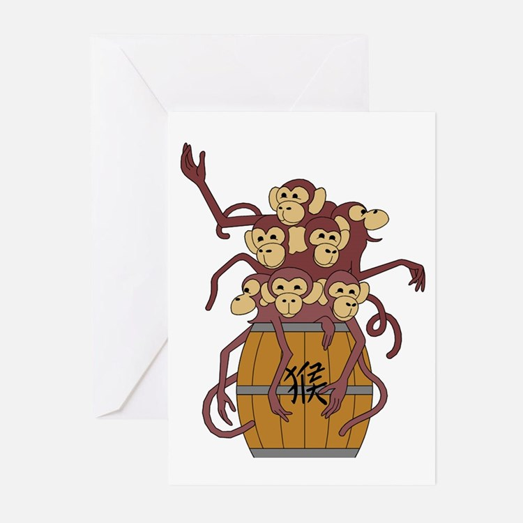 Funny Year of The Monkey Greeting Cards (Pk of 10)