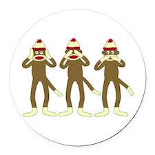 No Evil Sock Monkeys Round Car Magnet