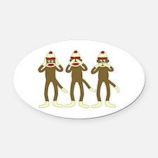 No Evil Sock Monkeys Oval Car Magnet