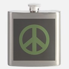 Peace Symbol Green Flask
