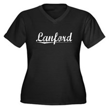 Lanford, Vintage Women's Plus Size V-Neck Dark T-S