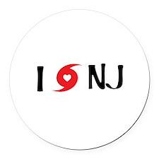 I LOVE NJ Round Car Magnet