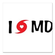 "I LOVE MD Square Car Magnet 3"" x 3"""
