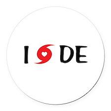 I LOVE DE Round Car Magnet
