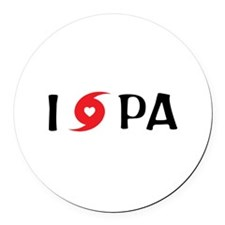 I LOVE PA Round Car Magnet