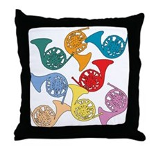 Colorful French Horns Throw Pillow
