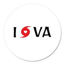 I LOVE VA Round Car Magnet