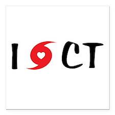 "I LOVE CT Square Car Magnet 3"" x 3"""