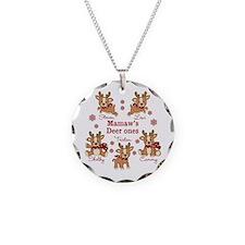 Custom deer grand kids Necklace Circle Charm