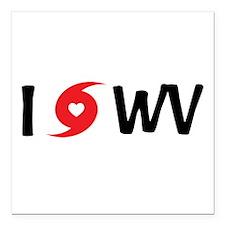 """I LOVE WV Square Car Magnet 3"""" x 3"""""""