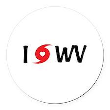 I LOVE WV Round Car Magnet