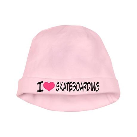 I Heart Skateboarding baby hat