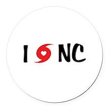 I LOVE NC Round Car Magnet