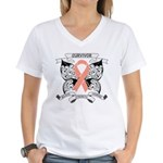 Survivor Uterine Cancer Women's V-Neck T-Shirt