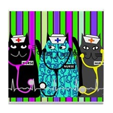 nurse cat blanket 2 stripes.PNG Tile Coaster