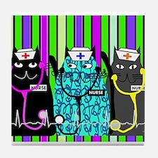 nurse cat blanket 2 stripes.PNG Tile Coaster