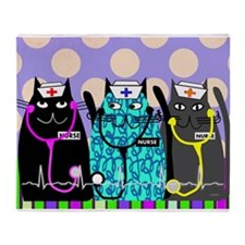 nurse cat blanket 2 polka dots.PNG Throw Blanket