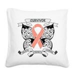 Survivor Uterine Cancer Square Canvas Pillow