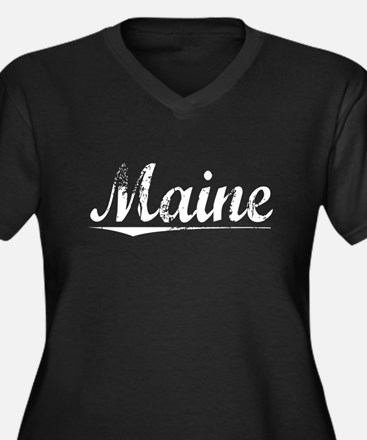 Maine, Vintage Women's Plus Size V-Neck Dark T-Shi