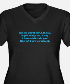 Funny Ask Me About My ADHD Women's Plus Size V-Nec