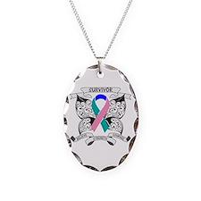 Survivor Thyroid Cancer Necklace Oval Charm