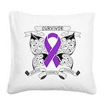 Survivor Pancreatic Cancer Square Canvas Pillow