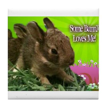 Some Bunny Loves Me Tile Coaster