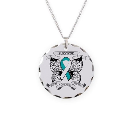 Survivor Cervical Cancer Necklace Circle Charm