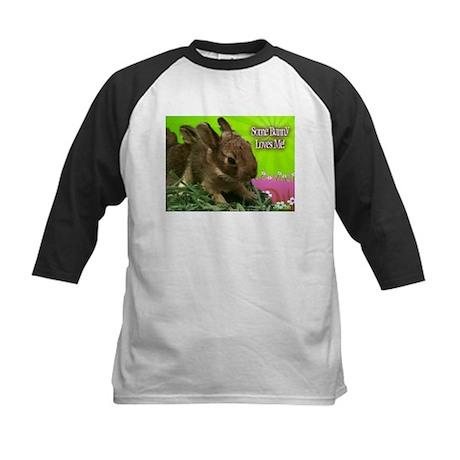 Some Bunny Loves Me Kids Baseball Jersey