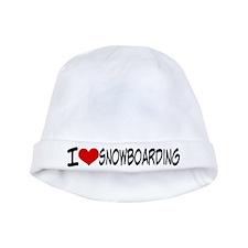 I Heart Snowboarding baby hat