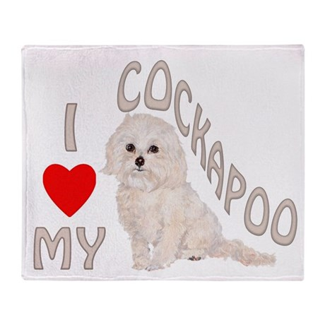 I Love My Cockapoo Throw Blanket