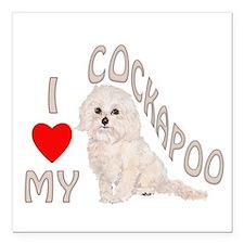 "I Love My Cockapoo Square Car Magnet 3"" x 3&q"